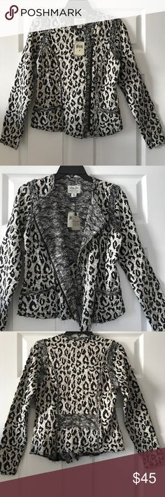 NWT--Lucky Lotus leopard moto shirt/jacket NWT--moto shirt/jacket made from 81% cotton and 19% polyester. Hem has a defined stitch with a frayed edge. The fit is designed to be close to the body and does not run big. Lucky Brand Tops