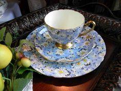 Shelley Teacup Tea Cup and Saucer Blue Daisy Chintz Teacup Trio Cup Saucer Plate