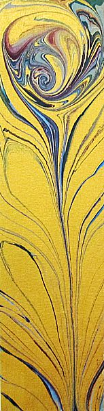 Kay Radcliffe's marbled peacock feather painting - Marbeling with metallic gold