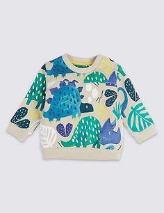 Pure Cotton Dinosaur Print Baby Jumper