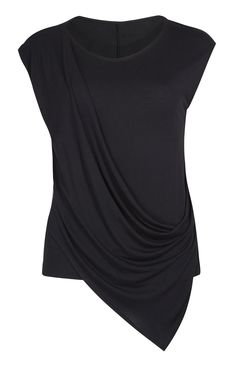 Top com drapeado à frente preto