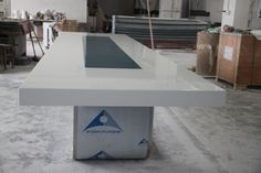 Conference table with solid surface and stainless steel table base - TW-MATB-021 - Tell World Solid Surface