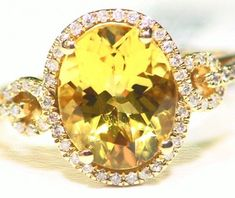 3.23CT 14K Gold Natural Yellow Emerald Beryl Diamond Vintage Engagement Ring