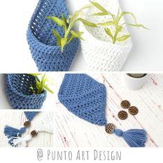 Small Hanging Pocket - Home Decor -Hanging Basket Crochet Basket Pattern, Crochet Diagram, Boho Crochet Patterns, Crochet Baskets, Crochet Diy, Crochet Hooks, Small Crochet Gifts, Crochet Plant Hanger, Crochet Wall Hangings