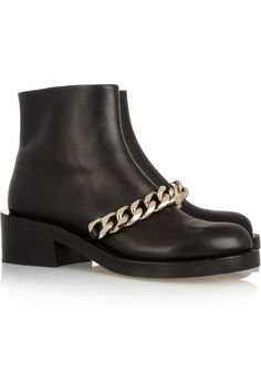 Givenchy | Chain-trimmed leather ankle boots | NET-A-PORTER.COM
