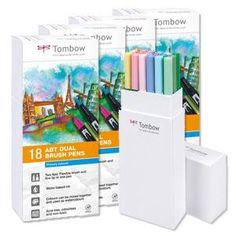 Tombow ABT-6C-2 Fasermaler Dual Brush Pen mit zwei Spitzen, 6-er Set, pastellfarben: Amazon.de: Bürobedarf & Schreibwaren