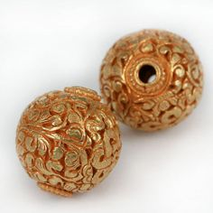 Gilted Bronze Beads - Hand Worked Floral Motif 22mm Diameter