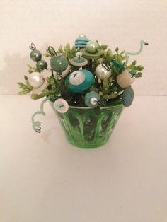 Vintage Button Bokay in Green Depression Glass Custard Cup-Ornie-Home Decor