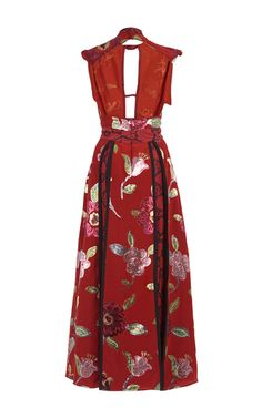 Floral And Python Printed Crepe De Chine Dress by BURBERRY for Preorder on Moda Operandi