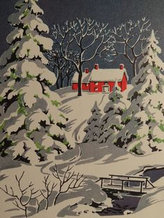 1950s Winter Snow Scene, Vintage Christmas Card...I'd love to frame a bunch of old cards to put out around the house