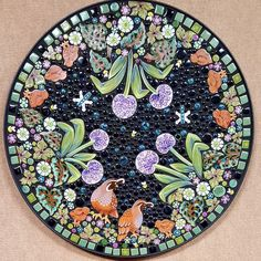 10 square ceramic handmade art tile Giant Allium /& Hummingbird Outdoor Wall Garden Art