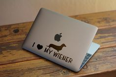 I Love My Wiener Decal Sticker for Apple Macbook and other Laptops   Great as a Gag Gift or Ice Breaking theme on a conversation by BrutalVisual