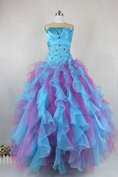 ball gowns dress | Real Sample Dresses/ Ball Gown Colorful Organza Floor Length Corset ...