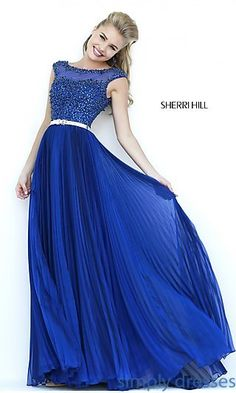 Sherri Hill High Neck Dress with Pleated Skirt at SimplyDresses.com