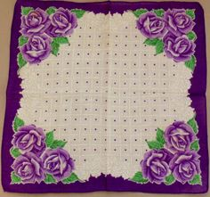 Purple Vintage Hanky Wearing Purple, Purple Jewelry, Vintage Handkerchiefs, Linens And Lace, Barbie Dress, Sewing Notions, Vintage Quilts, Shades Of Purple, Beautiful Patterns