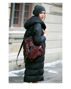 Siti Selected одежда купить в интерне-магазине,зимний женский пуховик грушевидного силуэта с капюшоном - Fusion Mall