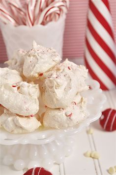 White Chocolate Peppermint Meringues - perhaps combine these with the mousse tart concept? Just saying.