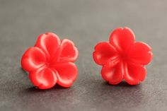 Red Flower Earrings. Red Earrings. Silver Post Earrings. Innie Flower Button Jewelry. Stud Earrings. Handmade Jewelry. by StumblingOnSainthood from Stumbling On Sainthood. Find it now at http://ift.tt/1RXQYMp!