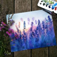 I have to do this!!! It's beautiful!!! #so this Art Inspo, Kunst Inspo, Painting Inspiration, Art Amour, Art Watercolor, Watercolor Landscape, Watercolor Flowers, Acrylic Flowers, Landscape Art