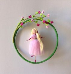 Needle felted Waldorf mobile Fairy doll