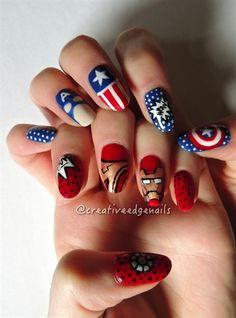 Superhero Battle #2 - Civil War by creativeedge - Nail Art Gallery nailartgallery.nailsmag.com by Nails Magazine www.nailsmag.com #nailart