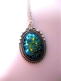 Metallic Blue Titanium Galaxy Necklace In by FashionCrashJewelry