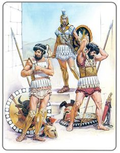 Modern illustration of Classical Greek warriors, circa 450 BC, putting their armor on.                                                                                                                                                                                 Más