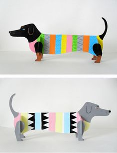 illustrations from Swedish illustrator Karin Soderquist Cardboard Animals, Cardboard Crafts, Paper Crafts, Projects For Kids, Art Projects, Origami, Art Lesson Plans, Dachshund, Art Classroom