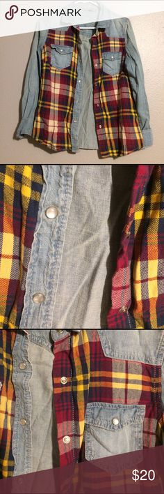 Plaid And Denim Flannel In great condition! (Tags: Forever 21, Wet seal, Papaya, Charlotte Russe, Nordstrom, Zara, H&M, Old Navy, Sears, Macy's, MOSSIMO Supply Co, Banana Republic, Loft, J-Crew, VS Pink, Tory Burch, Calvin Klein)  Check out my other items :) Let me know if you would like to bundle! Thanks! Vanilla Star Tops Button Down Shirts