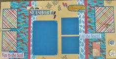 Two Premade Scrapbook Layouts SEASHORE by BennBooCreations on Etsy