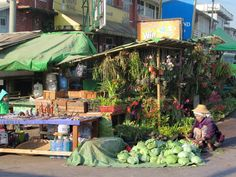 A cabbage vendor has occupied this strategic corner near the market in Kalaw, Myanmar (Burma). Cabbage, Corner, Cabbages, Brussels Sprouts, Kale