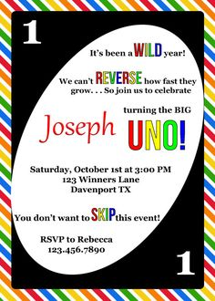 Purchase this listing to customize the perfect invitation for your UNO Theme Birthday Party! The classic rainbow colors keep the invitation unisex and perfect for both boys and girls. Celebrating a first birthday has never been more fun! THIS ITEM IS AVAILABLE AS PART OF A PARTY PACKAGE: https://www.etsy.com/listing/464069843/uno-birthday-party-package-uno-birthday?ref=shop_home_active_4 CHECK OUT THESE COORDINATING SHIRTS FOR YOUR PARTY…