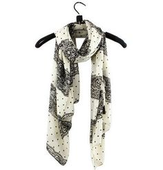 Black and White Polkadot Chiffon Scarf  Check out our collection http://www.lissomecollection.co.uk/New-arrivals