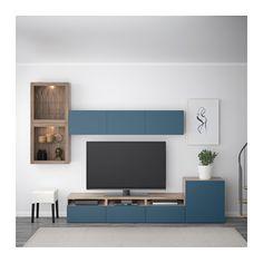BESTÅ TV storage combination/glass doors - walnut effect light gray Valviken/dark blue clear glass, drawer runner, push-open - IKEA