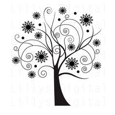 "Tree Digital Stamp: ""CHIC TREE 1"" clipart, digital image"