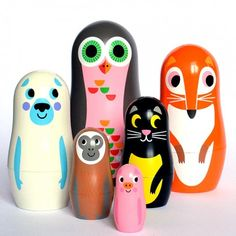 Ingela P Arrhenius Animal Nesting Dolls - Set Two