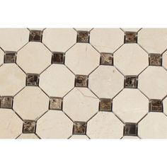Ivory Travertine Tumbled Octagon Mosaic Tile W Noce Dots