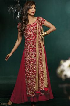 Priyanka Chopra Suit-Red Chanderi Party Wear Anarkali Suit with Embroidered