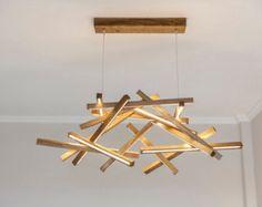LED Wooden Chandelier - LED lamp - wood lamp - modern home deco - unique design - lighting - modern wood lamp - big size chandelier