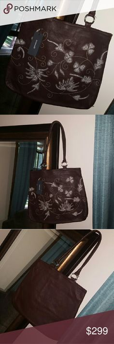 PRICE DROP! Berge Floral Embroidered Leather Bag Berge Floral Embroidered Leather Bag. New with tags, made in Italy.  This bag is solid brown on one side and has a sweet floral pattern with white and light brown accents embroidered on the other.  Style: Morris Berge Bags Shoulder Bags
