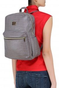 grey faux leather textured backpack grey fauxleather texturedbackpack perse perniaspopupshop