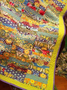 love the lime and periwinkle borders with the Kaffe Fassett / Amy Butler fabrics