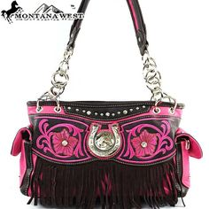 Click Here and Buy it on Amazon.com Price:	$49.99 Amazon.com: Montana West Western Horse and Horse Shoe Rhinestone Gemstone Studded Floral Embroidered Suede Fringe Detailed Side Pocket Tote Satchel Shoulder Handbag Purse in Pink and Coffee: Clothing