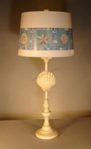 """Scallop Shell Electric Lamp with Brent Shade 33"""" from Handcrafted Nautical Decor - In stock and ready to ship"""