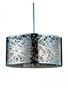 40W Laser-cut Pattern Steel Drum Shade Crystals Pendant Lighting Living Room, Dining Room