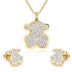 Caliente venta oso juegos de joyería para mujer acero inoxidable aretes collar de boda accesorios moda nupcial en Conjuntos de Joyas de Joyería en AliExpress.com   Alibaba Group