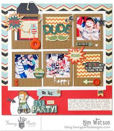 It's a Monster Party - Scrapbook.com - 6 corrugated Polaroid frames in the center of the page to hold photos, title and embellishments organize a fun birthday page.