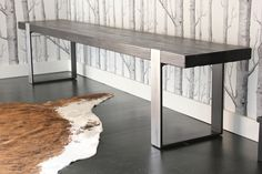 the industrial modern bench (scorched/darkened-brushed). $595.00, via Etsy.    want it!