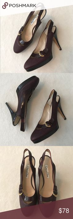 "Oacar de la Renta Burgundy Slingback  Heels Worn one time briefly. No signs of wear on top of shoe. The sole of the shoe has a few light marks. Burgundy color with buckle accent on sides. Approximately 4.5"" stacked heel with 0.5"" platform. Elasticized sling back strap. Round toe style. Patent leather upper. They run a little narrow, so they wouldn't be the best choice for someone with a wider foot. Reasonable offers welcome via the offer button. *No trades please* Oscar de la Renta Shoes…"