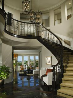 entryway idea that i've always liked. make it double stairs, one on each side if you want